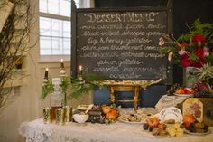 Real Wedding, Chalkboard Dessert Menus 012: Library Halloween Wedding Ideas