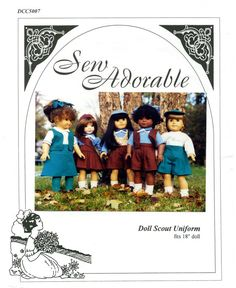 "Sew Adorable 18"" Doll Clothes Pattern, American made, Doll Scout Uniform"