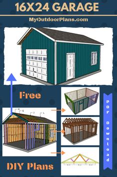 Free plans for building a one car detached garage. Step by step instructions with detailed diagrams and instructions. A materials list and a cut list are included in the free tutorial. Shed plans. Garage Plans Free, Garage Building Plans, Garage Plans With Loft, Plan Garage, Diy Shed Plans, Building A Shed, Free Plans, Detached Garage Plans, Garage Workshop Plans