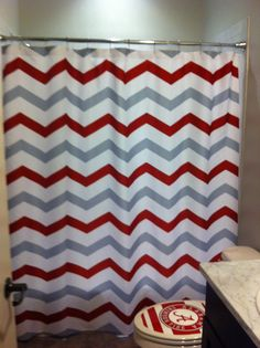 Nice Custom Colors Shower Curtain Chevron Or Stripes Red By Redbeauty, $68.00