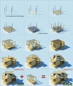 Illustration of the construction phases of the Floating Bamboo Low Cost Houses in Vietnam by H & P Architects