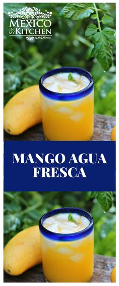 How to make Mango Agua Fresca ?We love to eat mangos just by themselves when ripe but we also use them to make desserts preserves salads and drinks like this Mango agua fresca. Aqua Fresca Recipes, Mango Recipes, Water Recipes, Drink Recipes, Mango Water Recipe, Dinner Recipes, Juicer Recipes, Detox Recipes, Aguas Frescas