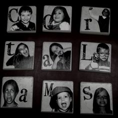 Great gifts for babysitters to make for parents! Very simple photo coasters.. Tiles with pictures mod podged on the top!