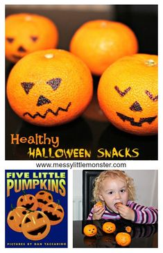 Healthy Jack o Lantern Halloween Snack is part of Older Kids Crafts Link - Easy and healthy Jack O Lantern Halloween Snacks for kids Great for parties, groups, toddlers, preschoolers and older kids A book activity linked to the 'Five Little Pumpkins' song Halloween Activities, Craft Activities For Kids, Book Activities, Halloween Crafts, Autumn Activities, Activity Ideas, Halloween Party, Older Kids Crafts, Fall Crafts For Kids