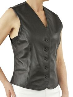 Womens Black Leather Waistcoat with buttons fastening. Made in soft lambskin nappa leather.
