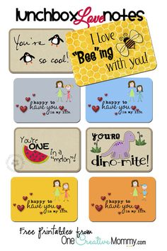 Free Lunchbox Love Notes Printables from OneCreativeMommy.com {Who doesn't need a little love in their lunch?}