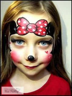 Maremi's Face and Body Painting: Jak pomalowac twarz dziecku Myszka Mini miki / How to face paint Minnie Mouse Mickey