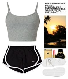 A fashion look from July 2016 by wandelareoceane featuring NIKE, Larsson & Jennings, Goldgenie and Chanel Cute Lazy Outfits, Swag Outfits For Girls, Chill Outfits, Sporty Outfits, Teen Fashion Outfits, Grunge Outfits, Simple Outfits, Look Fashion, Stylish Outfits