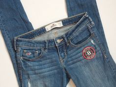 HOLLISTER CALIFORNIA Denim Skinny Jeans Distressed Embroidered Surf Rescue 0S #Hollister #SlimSkinny