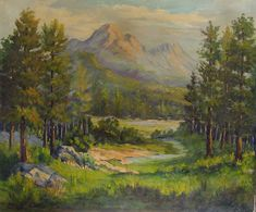"Mountain landscape by Vivian Love (1908 - 1982) Texas oil on canvas, circa 1950. Unframed. Edge wear, 24"" L x 0.5"" W x 20"" H"