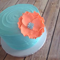 Teal and coral smash cake