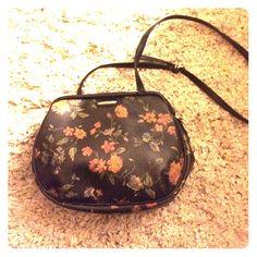 Vintage floral print cross body Faux leather, vintage. Long black strap. Liz Claiborne Bags Crossbody Bags