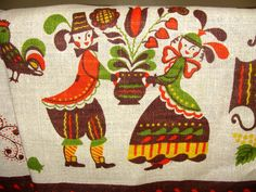 Vintage Mid Century Eames Linen Tablecloth & Runner Danish Scan Folk Art Orange   eBay