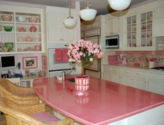 Kitchen, Pink Kitchen Walls Black Technology Electronic Build Hob Ikea Pendant Lamps Square Stainless Steel Cooker Hood Chimney Old Fashioned Fireplace Classic Recessed Panel Cabinet: Colorful with Theme
