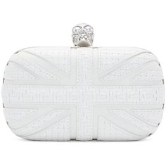 Alexander Mcqueen White and Silver Basket Weave Skull Clutch ($1,375) ❤ liked on Polyvore featuring bags, handbags, clutches, purses, white, white purse, white handbags, union jack purse, skull purse and structured handbag
