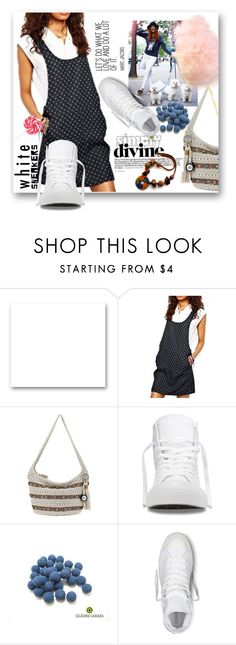 """""""Bright White Sneakers"""" by samketina ❤ liked on Polyvore featuring St. John, The Sak, Converse and whitesneakers"""