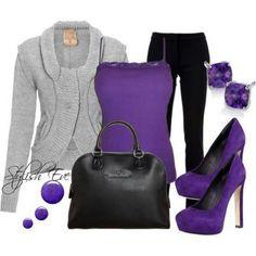 Purple Outfits for Women by Stylish Eve Lila Outfits, Purple Outfits, Casual Outfits, Cute Outfits, Fashion Moda, Look Fashion, Fashion Outfits, Womens Fashion, Fall Fashion