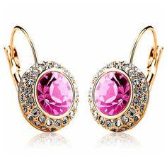 Jiquelyn - Swarovsky Crystal Gold or White Gold Hoop Earrings