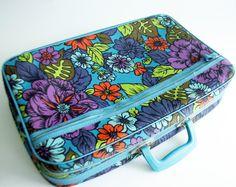 vintage floral suitcase mod 1960s luggage