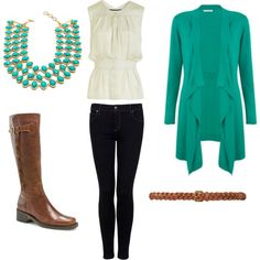 Love this whole outfit! Teal, cream, skinny jeans, and boots.