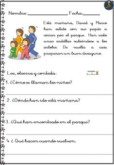 Colección de fichas comprensión lectora Spanish Lesson Plans, Spanish Lessons, Spanish Class, Learning Spanish, 1st Grade Reading Worksheets, Comprehension, Homeschool, Language, Classroom