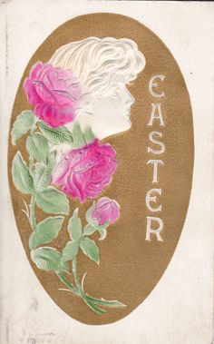 1908 Airbrushed Easter Postcard Profile of a Woman w/ Roses, Cameo, Embossed #Easter