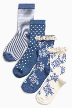 Buy Navy Floral Socks Five Pack (Older Girls) from the Next UK online shop