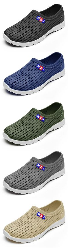 9f36925141277c Men Hollow Out Soft Breathable Sandals Flat Slip On Water Garden Shoes Red  Shoes Outfit
