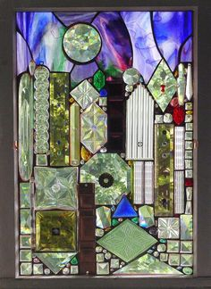 cabinets, mirror, glass art, alison fox, recycled glass, glasses, stain glass, foxes, stained glass