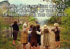 When Gandalf sets off the fireworks out of the back of his cart for the children.  Suggested by: rivendale.