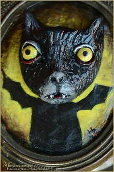 Cat Bat 2 sculpture painting by Vocisconnesse on etsy - wall art - winged black cat