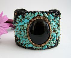 Bead embroidery black and turquoise cuff bracelet
