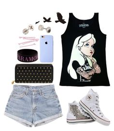 """Punk Alice shirt"" by blueelephant115 ❤ liked on Polyvore featuring Disney, Levi's, Converse, Alexander McQueen and BOBBY"