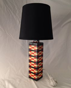 Red and Tan LEGO lamp with black striping and dark by BrickABlocks, $55.99