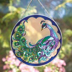 Peacock Suncatcher $14.99 www.allthingspeacock.com - Peacock Stained Glass
