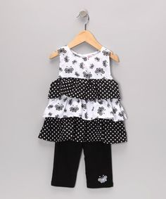 Take a look at this Black Butterfly Ruffle Tunic & Leggings - Infant & Toddler by Coney Island Kids on #zulily today!