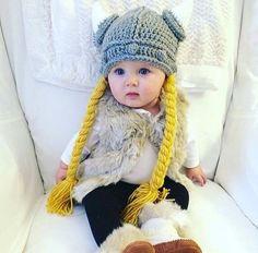 Ganchillo del sombrero de Viking, recién nacidos hasta Adultos, con trenzas Divertido cuerno Cuerno Vikingo Sombrero de Punto de Ganchillo Hecho A Mano de Dibujos Animados de Navidad Sombrero DEL BEBÉ