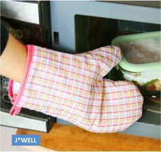 1 Pair Cooking Pot Holder Microwave Oven Mitts Baking BBQ Gloves Hand Protector