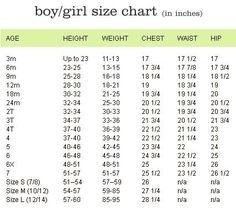 Boys And S Crochet Size Chart Symbols Sches