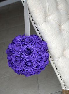 PURPLE kissing ball. Flower Ball. Pomander. by KimeeKouture