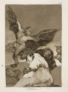 "Francisco de Goya: ""Soplones"". Serie ""Los caprichos"" [48]. Etching and aquatint on paper, 205 x 149 mm, 1797-99. Museo Nacional del Prado, Madrid, Spain"