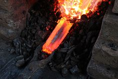 Folded layers of steel being forged