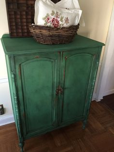 Items similar to SOLD Vintage Hand Painted Armoire Annie Sloan Chalk Paint Green Farmhouse cottage Shabby Chic Pick up Only on Etsy Refinished Furniture, Distressed Furniture, Furniture Makeover, Antique Wardrobe, Diy Wardrobe, Vintage Armoire, Painted Armoire, Annie Sloan Chalk Paint, Paint Ideas
