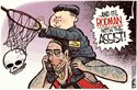 The artist is trying to get across that it's a little ridiculous that Kim Jong un and Dennis rodmen are friends