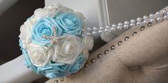 AQUA BLUE & White Mix Elegant Wedding foam flower by KimeeKouture