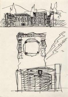 #inspiration #architecture #sketch #drawing Alessandro Anselmi GRAU, studi per la Chiesa di Santissima Annunziata, 1983, disegno inchiostro su carta