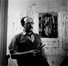 "Mark Rothko in his studio around 1945. Poet, Stanley Kunitz, referred to Rothko as ""the last rabbi in Western art."""
