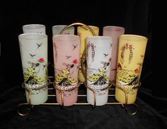 8 Vintage  Gone With the Wind  Tall Cocktail Glasses  in Carrier Hollywood Regency Mad Men Style on Etsy, $60.00