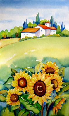 """Tuscany with Sunflowers II""Tall Watercolor Painting , painting by artist Meltem Kilic"