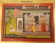 MINIATURE, LORD BRAHMMA, OPAQUE WATERCOLOR ON WASLI